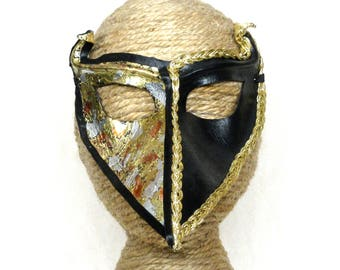 Leather Venetian Raven Mask, Black and Metallic Gold Crow Masquerade with Horns, with Foil and Braid Trim, Handcrafted Bird Halfmask (M205)