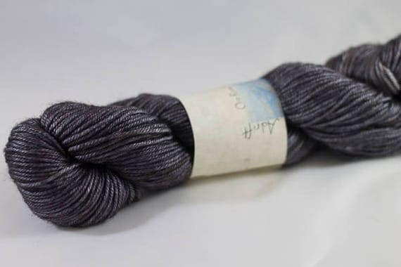 DK Silk and Wool, Hand Dyed in Adrift colorway, Grey Silk and Superwash Merino DK Yarn