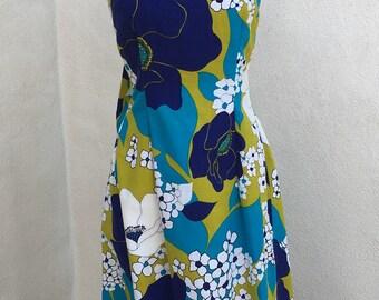 Vintage Hawaiian luau long maxi dress blue green floral bark cloth sz S/M