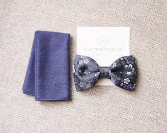 Men's Bow Tie Pre-tied Bow Tie For Men - Floral Navy Blue Bow Tie - Handmade Mens Gift Wedding Gift Groom Gift Groomsmen Gift