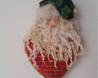 Santa Claus Ornament/ Bisque Face Santa/ Holiday Decoration/
