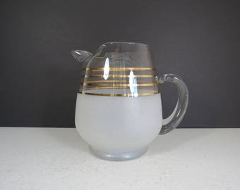 Mid Century Glass Pitcher // Vintage Modern Gold Stripe Frosted Water or Cocktail Pitcher Barware 1950's 1960's Atomic Era Hollywood Regency
