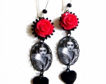 LOULOU Vintage...! earrings with rose