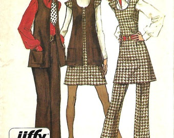 Simplicity 5192 Jiffy Mini Jumper Or Tunic, Vest And Pants Pattern, Size 14, Bust 36, UNCUT