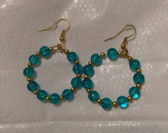 Aqua Gold hoops earrings 4MM beads