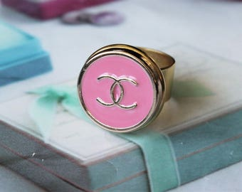 Authentic Chanel Button Ring Pink and Gold, Iconic Insignia Ring Classic Designer, Upcycled Button Jewelry, Adjustable Ring veryDonna
