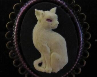 White Cat Cameo Adjustable Bronze Ring