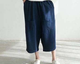 Woman pants Denim Pants Jeans Pants Wide Leg Pants Cotton Trousers #P1724