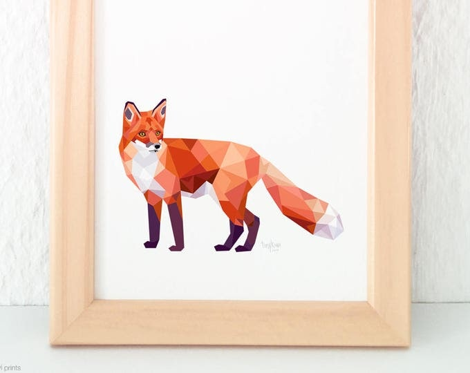Forest creatures art prints, Fox print, Fox illustration, Fox wall art, Woodland creatures, Forest wildlife, Geometric fox, Fox nursery art