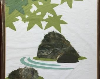 Japanese Torn Paper Art, Rock Garden.