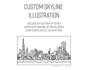Custom Skyline Illustration - Elle Karel, illustration, city, art, modern, black and white, destination, travel, gift