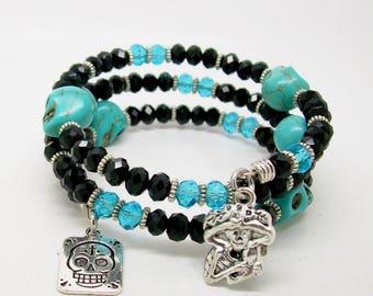 Sugar Skull Memory Wire Bracelet - Wrap Bracelet - Memory Bracelet - Day Of The Dead Bracelet- Turquoise Howlite Gemstone - Skull Jewelry