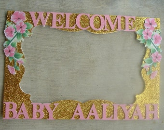 Birthday, Baby Shower, Wedding, Gold and Pink Quince Baby Shower/Birthday or any colors and theme Party Photo Prop Frame