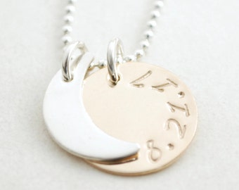 Solar Eclipse Moon Necklace Mixed Metals Gold Filled and Sterling Silver Hand Stamped Date
