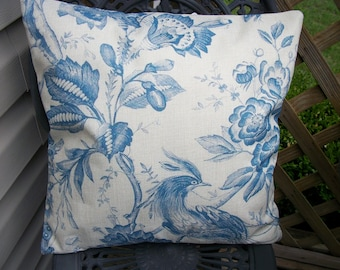 French Country Blue Toile Pillow Cover, 18 x 18  Pillow Cover, Art Nouveau Lady Swinging Angels Birds Design French Cottage Chic Home Decor