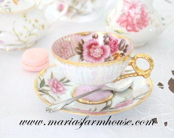 TEA CUP, Vintage Porcelain, Footed Tea Cup and Saucer, High Tea Party, Gifts for Her
