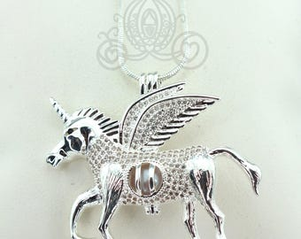 Flying Unicorn Pearl 925 Cage Silver Necklace Pegasus Crystal Pegacorn Alicorn Pendant