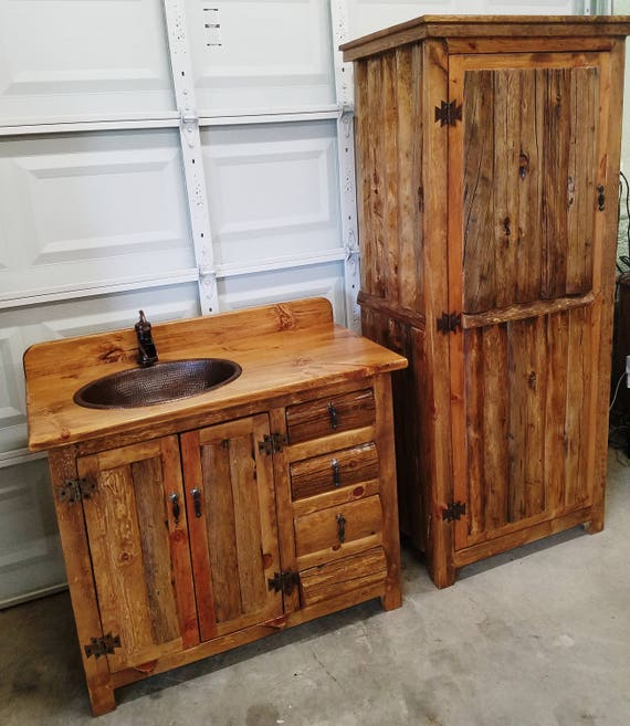 "Rustic Linen Cabinet for Rustic Bathrooms - 72"" tall - 33"" wide - Old Pine Logs made for our Rustic Bathroom Vanities. Used in Kitchens too."