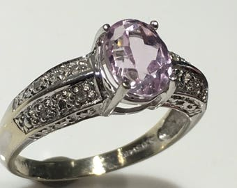 White Gold Diamond and Rose Colored Stone Ring