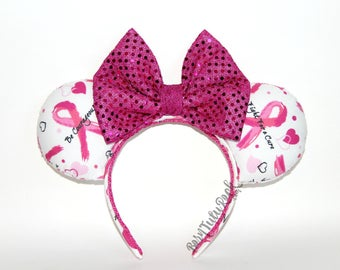 Breast Cancer Mouse Ears // Pink Ribbon Mouse Ears // by Born Tutu Rock