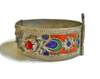 Vintage Silver Hinged Bangle Bracelet with Pin Colorful India Boho Bollywood Bedouin Blue Orange Red, Cuff Bracelet For SMALL Wrist