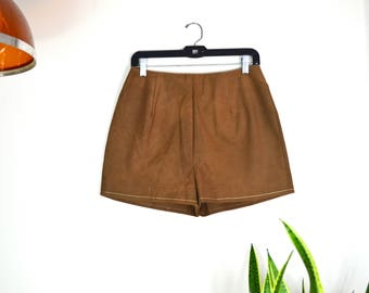 "1970s faux suede high waisted shorts // brown vintage hot pants 28"" waist"