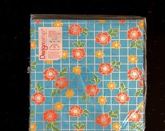 Vintage BLUE Floral Metallic Wrapping Paper / 80s Metallized Design Wrap Paper / One Sheet / Unused NIP / Orange & Yellow Flower Print