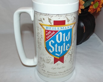 Vintage 1978 Heileman's Old Style Beer Thermo-Serv Insulated Plastic Beer 16 oz Mug Stein USA