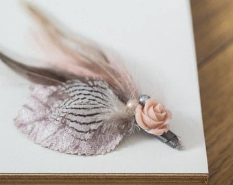 Patti Feather and Rose Everlasting Buttonhole