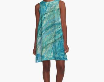 A Line Dress   Custom Womens Dress   Sleeveless Shift   Turquoise Abstract Print   Swing Dress   Tunic Dress   Beach Coverup   Summer Dress