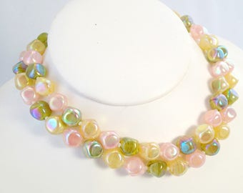"""FREE Shipping Vintage Castlecliff Signed Stunning Pastel Glass Beaded Necklace Pink Green Yellow 2 Strand 50s Beads 19"""" Pearlescent"""
