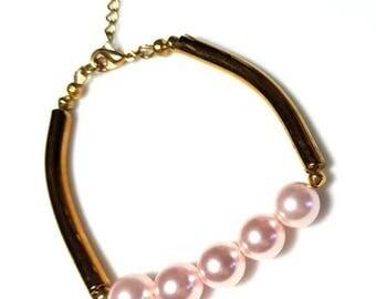 Pink Swarovski Crystal Pearl Gold Noodle Bracelet Tube Bead Bracelet Minimalist Bracelet Layering Stack Beaded Jewelry Gifts for Her