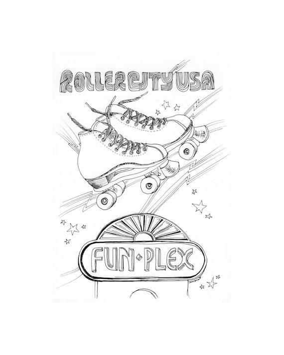 Fun Plex Houston Illustration - 5x7, Original Illustration, Framed Art, Houston Drawings, Houston Art, Black Ink Line Drawing