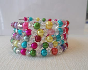 5 Row Memory Wire Cuff Bracelet with Multi Color Sea Shell Pearls and Clear Crystals