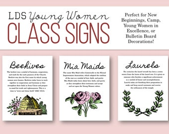 LDS Young Women Class Poster Set - Sign - Decoration - Beehive Mia Maid Laurel