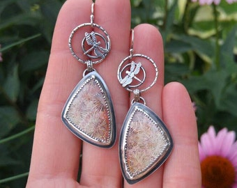 Fossil Coral and Dragonfly Sterling Silver Earrings. Textured, Oxidized Silver Metalworked Dangle Earrings. Nature Inspired. Triangular.
