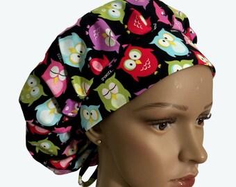 Bouffant Surgical Scrub Hat - Colorful Owls on Black bouffant scrub hat - Sleepy Owls Ponytail Scrub hat - Custom Scrub Hat