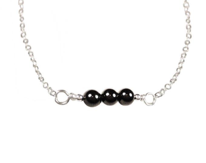 Black Onyx Necklace - 4 mm - Sterling Silver - Gold Fill