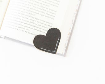 Vegan Leather Bookmark Heart Shaped Bookmark, Valentine's Day Gift, Book Lovers Gift, Valentine's Gift for Kids