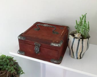 Antique Red Victorian Velvet Trinket or Sewing Box with Silver Hardware