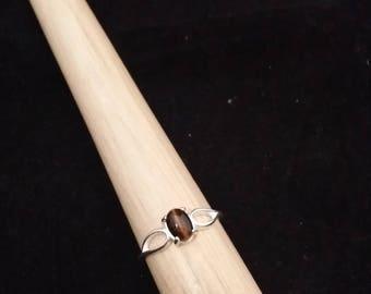 Tiger Eye Sterling Silver Ring - Size 8