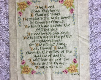 The Lord is My Shepherd, Completed, Unframed Cross Stitch in Gold, Green and Pink, Vintage Home Church Decor, Pastor's Office