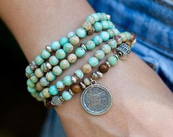 Beaded Wrap Bracelet, Charm Bracelet, Jasper Bracelet, Boho Bracelet, Long Beaded Necklace, Coin Bracelet, Stretch Bracelet, Beaded Bracelet