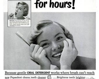 1951 Pepsodent Toothpaste Advertisement Blonde Beauty Powder Room Dentist Bathroom Dentistry Ad Dental Hygienist Gift Black