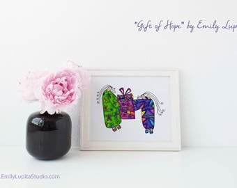 Art Print / Painting Card Invitations Stationary  / Birthday Christmas Wedding Bridal Shower Gift Engagement Anniversary / Women Girls Gift