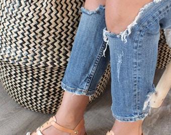 Gladiator Sandals. Studs and pom pom sandals. Summer sandals. Beachwear sandals.Bridesmaids gift.Flatform sandals. Made by lizaslittlethings