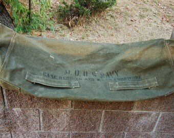 Vintage Canvas U.S. Navy Gear Bag. Vintage Military. U.S. Navy cot bag. Olive drab canvas Navy Tote. Navy Duffle bag. Ward Bag