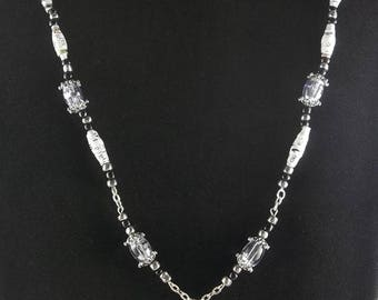 """Black and white and silver necklace 18"""""""