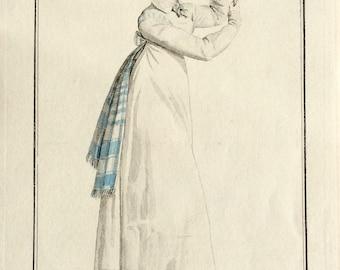 Antique Fashion Plate, Fashion Engraving, Regency Fashion Plate, Costume Parisien, 1817, by Horace Vernet