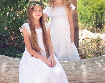 Sister Set Flower Girl/Matching sisters flower girl Dresses/White Lace Flower Girl Dress/Flower Girl White Lace Dress/Boho flower girl dress